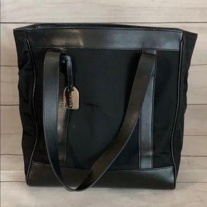 GUCCI GG Leather Trim Nylon Tote